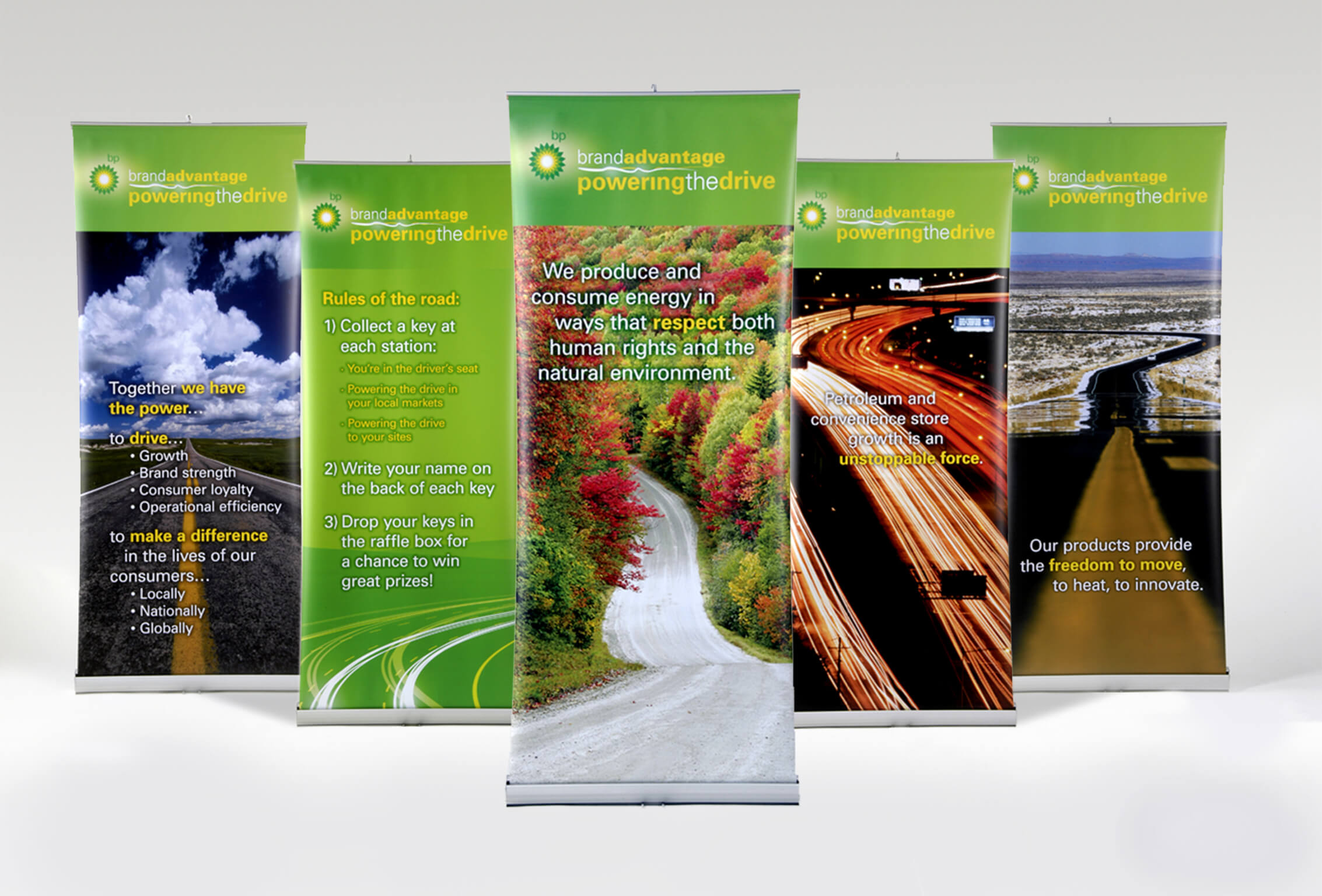 golin bp power the drive retractable banners image